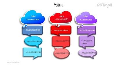 三组并列的气泡云并列关系PPT模板素材