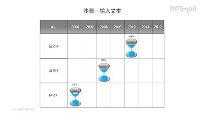 活动记录表格上的蓝色沙漏PPT模板素材