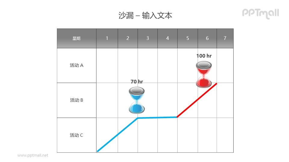 活动记录表格上的红蓝沙漏PPT模板素材