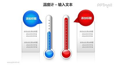 红蓝2个温度计对比关系PPT模板素材