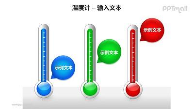 红蓝绿3种温度计递进关系PPT模板素材