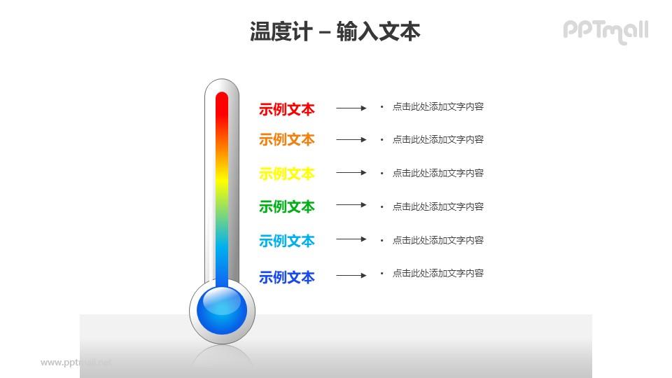 彩色温度计层次对比PPT模板素材
