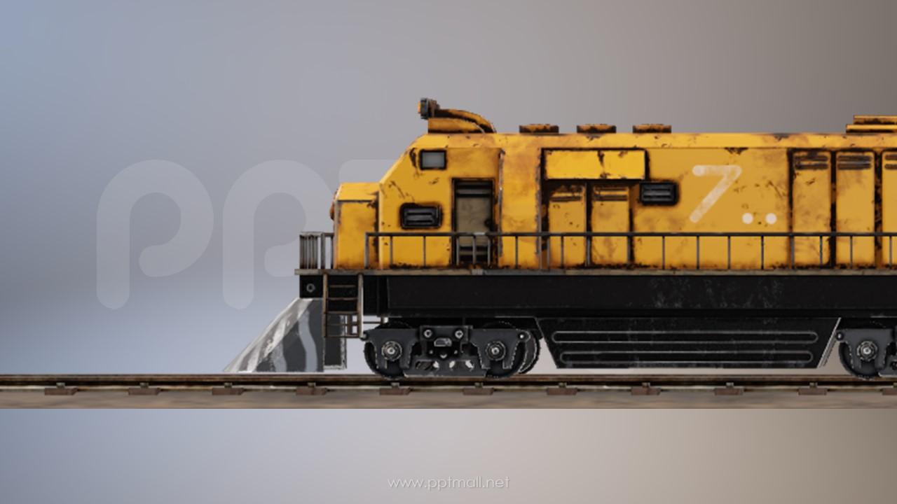 一节怀旧的火车头PPT模型素材