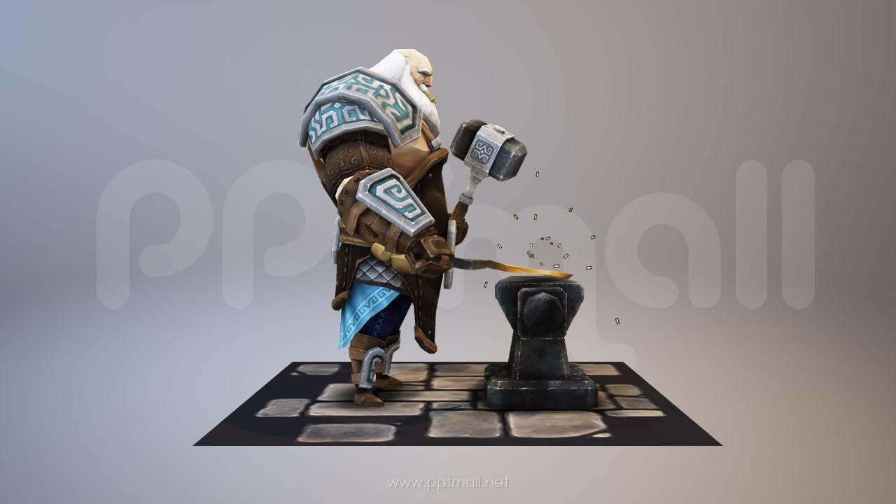 抡着铁锤造宝剑的游戏人物3D模型PPT素材
