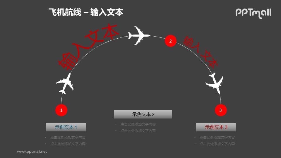 飞机航线上的三个节点PPT模板素材