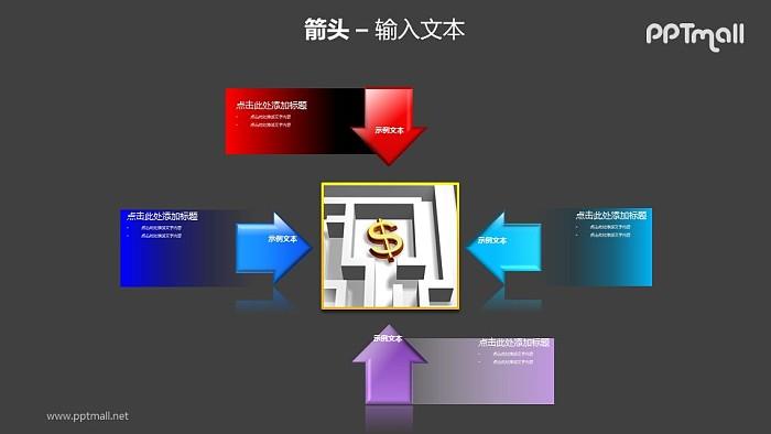 4个指向中心图片的箭头PPT模板素材_幻灯片预览图2
