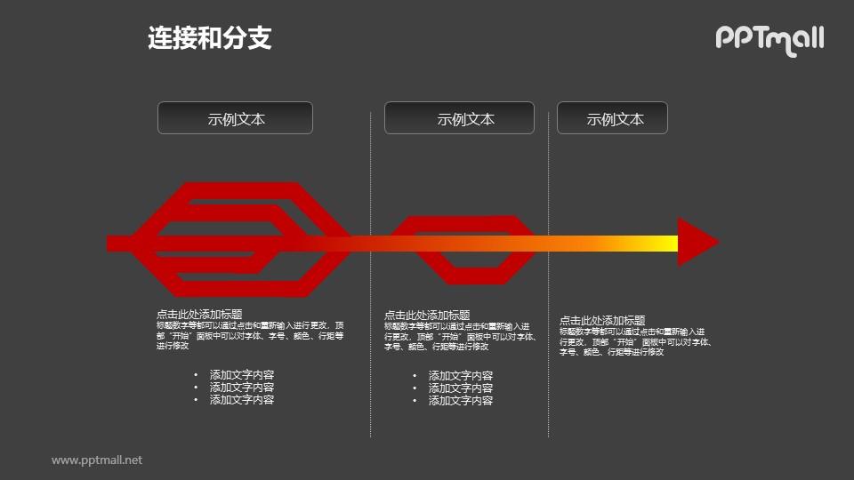 连接与分支——红色箭头三部分递进关系PPT模板素材