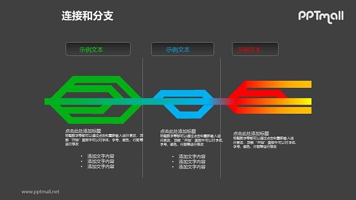 连接与分支——三部分对比关系PPT模板素材_幻灯片预览图2
