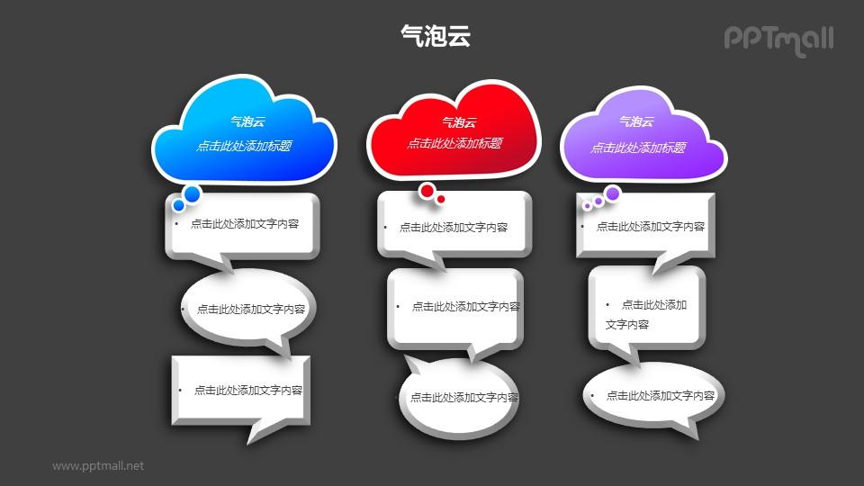 三组并列的气泡云对比关系PPT模板素材