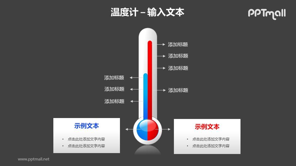 红蓝温度计对比关系PPT模板素材