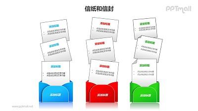 3个并列摆放的信封对比关系PPT模板素材
