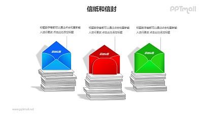 3堆信纸+信封并列关系PPT模板素材