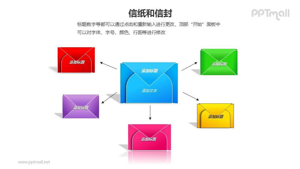 6个彩色的信封总分关系PPT模板素材