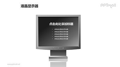 一个液晶显示器PPT模板素材