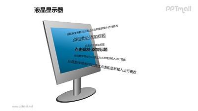 蓝色液晶显示器+多行文字PPT模板素材