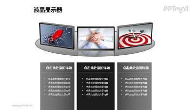 3个并列摆放的液晶显示器+图片PPT模板素材