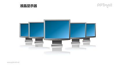 五个并列摆放的蓝色液晶显示器PPT模板素材