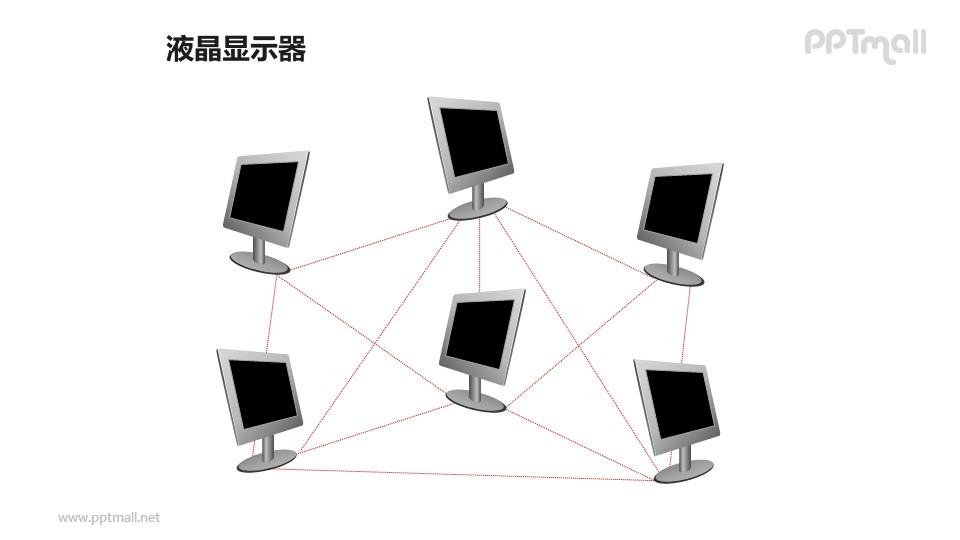 6个液晶显示器——互联网PPT模板素材