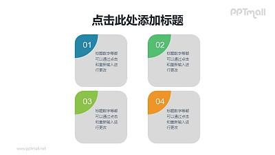 精美的4要点圆角列表PPT模板素材下载