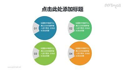4个圈圈的项目列表PPT素材