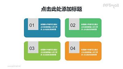 带数字标签的4部分项目列表PPT素材下载