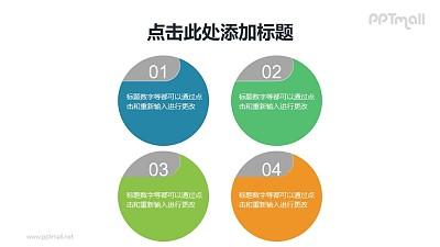 4部分圆形项目列表PPT素材下载