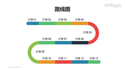 多彩色S型递进关系PPT模板素材