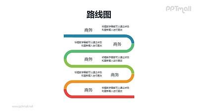 纵向排布的正弦波型递进关系PPT模板素材