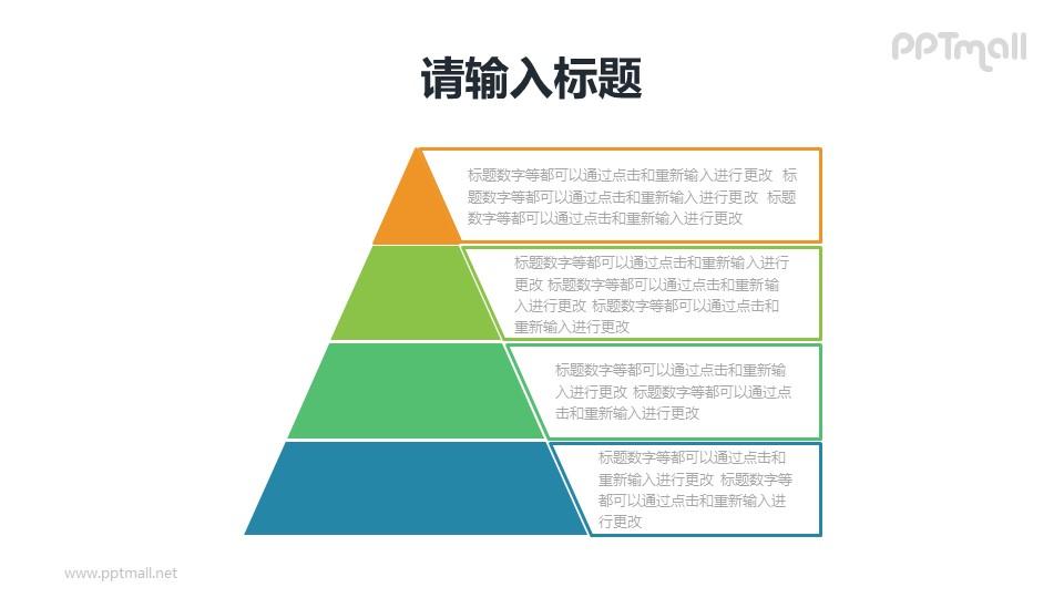 常规4层金字塔图示说明PPT模板素材