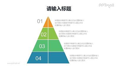 4层金字塔PPT模板素材