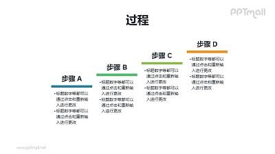 过程递进(4步骤)图示PPT素材下载