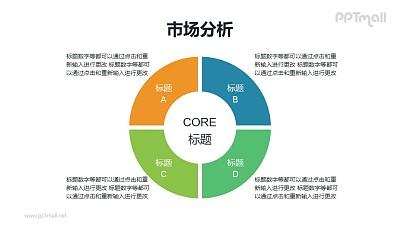 4部分总分关系项目列表PPT素材下载