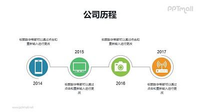 公司历程-横向带年份和icon的时间轴PPT素材下载