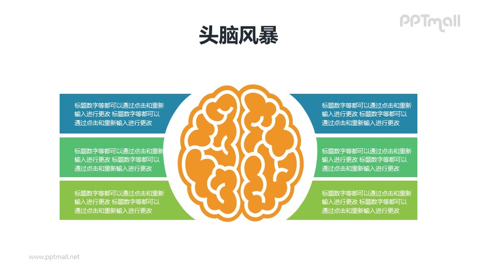 大脑的六部分/头脑风暴分析PPT模板素材下载