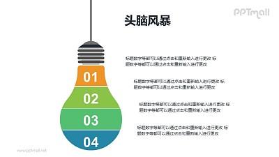 用电灯泡为概念的头脑风暴分析PPT模板素材下载