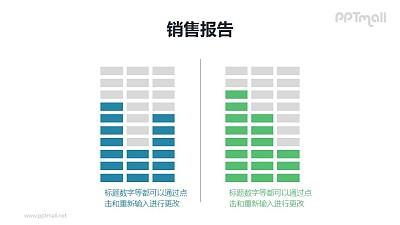 2组点阵组成的柱状图对比关系PPT素材模板