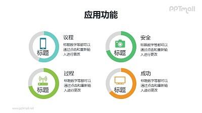 4组带图标说明的圆环图PPT素材模板