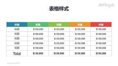 简约彩色表头的汇总表格PPT模板下载