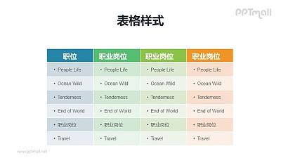 多彩色表格PPT模板素材下载