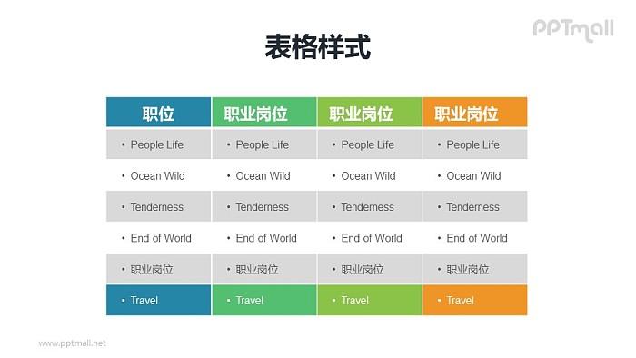 多彩色表格PPT模板素材下载_幻灯片预览图1