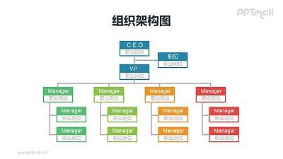 彩色纵向4层结构的组织架构图(含助理岗位)PPT模板素材