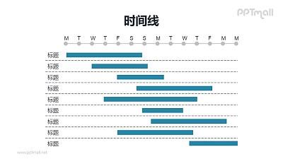 蓝色的甘特图PPT模板素材下载