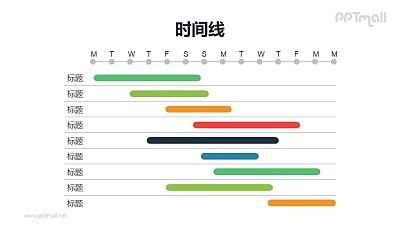 彩色的甘特图PPT模板素材下载