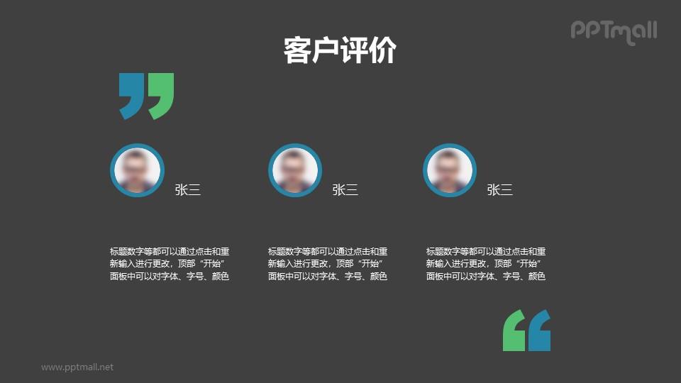 含头像和文字介绍的团队介绍/员工介绍的PPT模板素材