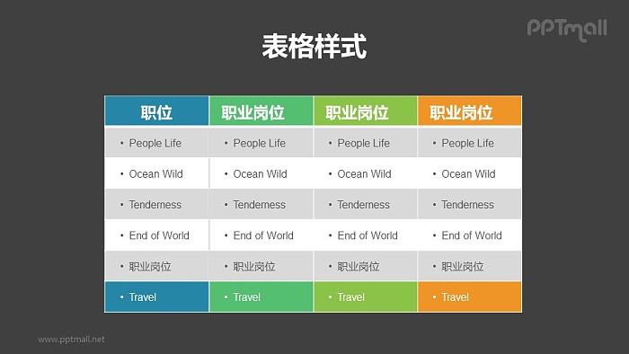 多彩色表格PPT模板素材下载_幻灯片预览图2