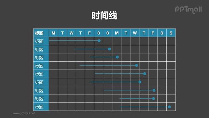 线条形的甘特图PPT模板素材下载_幻灯片预览图2