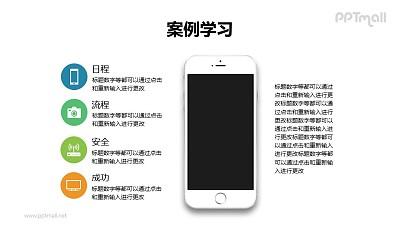 4部分带苹果手机样机的项目列表/目录导航PPT模板下载