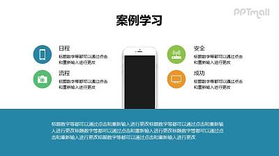 4部分带苹果手机样机的目录导航/要点列表PPT模板下载