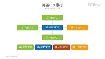 多层深度的组织架构图PPT模板素材