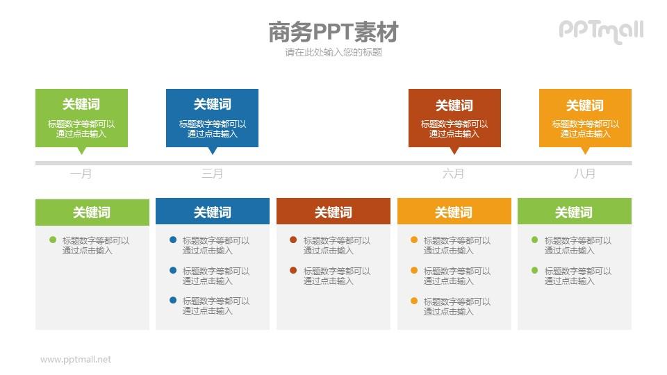 横向时间轴PPT素材下载